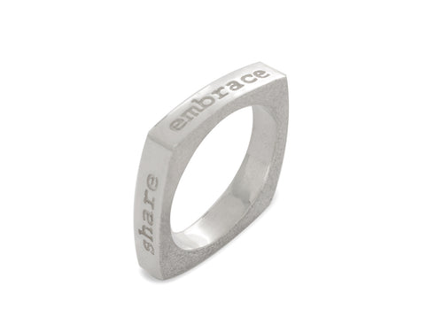Mantra Inspirational Meditation Square Ring - Celebrate Protect Embrace Share