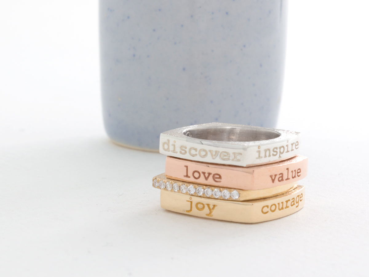 Mantra Inspirational Meditation Square Rings
