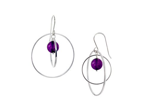 Pamela Lauz - Orbit Purple Amethyst Large Loop Silver Earrings