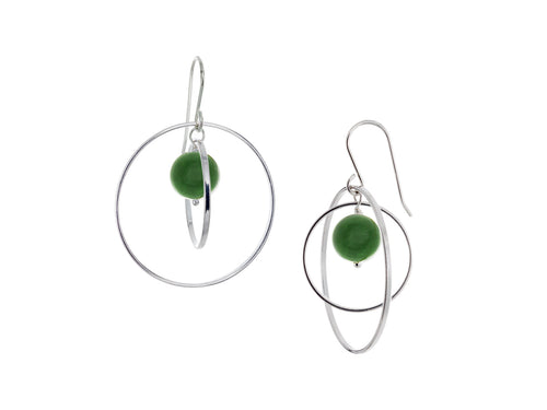 Pamela Lauz - Orbit Green BC Jade Large Loop Earrings