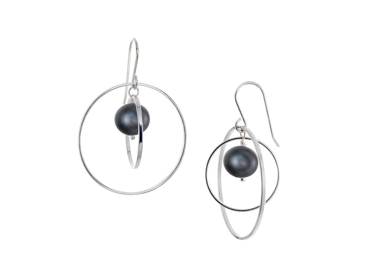Pamela Lauz - Orbit Black Pearl Large Loop Earrings