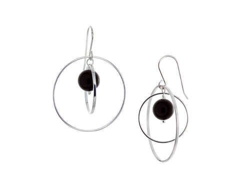 Pamela Lauz - Orbit Black Onyx Large Loop Earrings