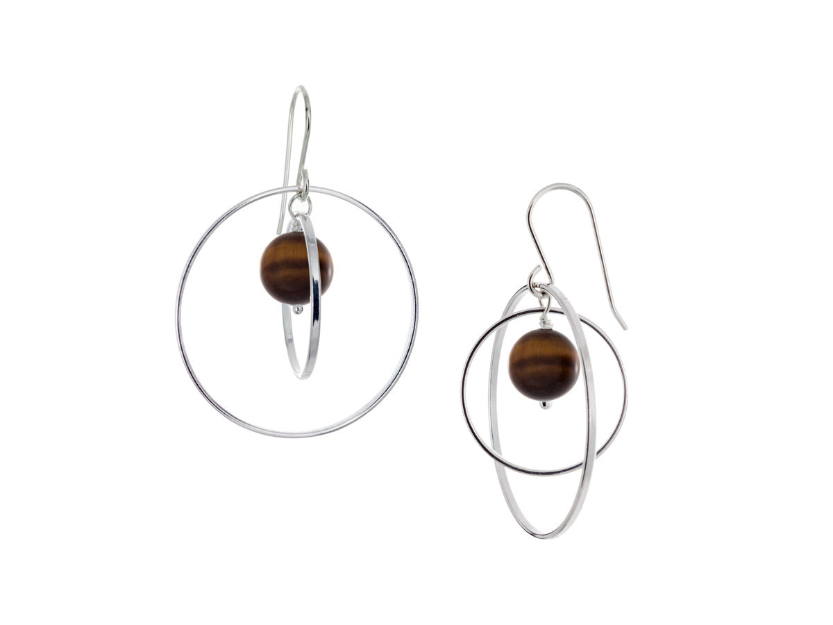 Pamela Lauz - Orbit Golden Tiger's Eye Large Loop Earrings