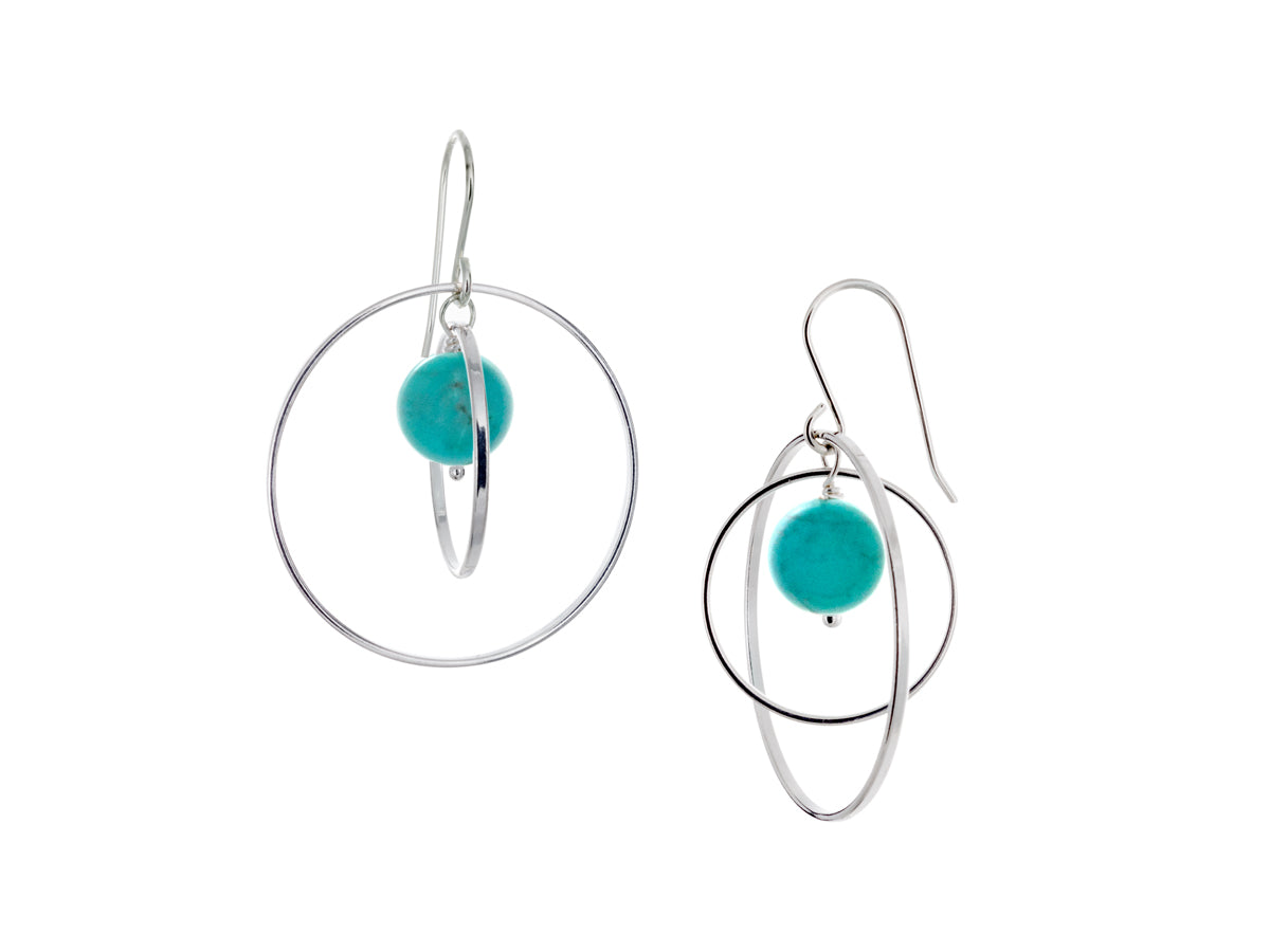 Pamela Lauz - Orbit Turquoise Large Loop Earrings