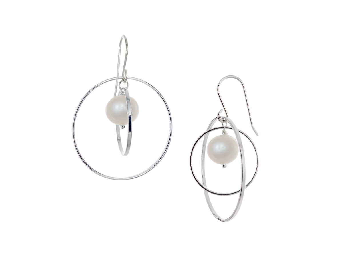 Pamela Lauz - Orbit White Pearl Large Loop Earrings