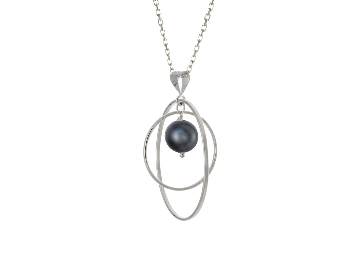 Pamela Lauz - Orbit Black Pearl Loop Necklace