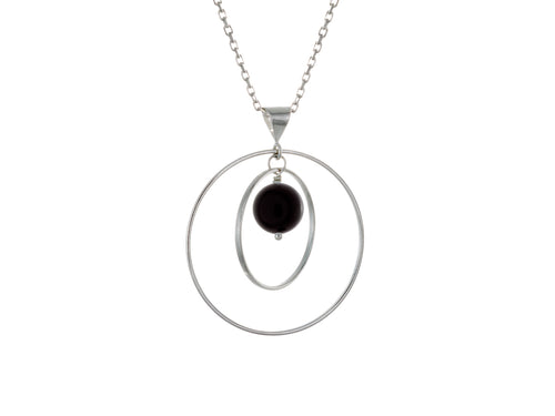 Pamela Lauz - Orbit Black Onyx Loop Necklace