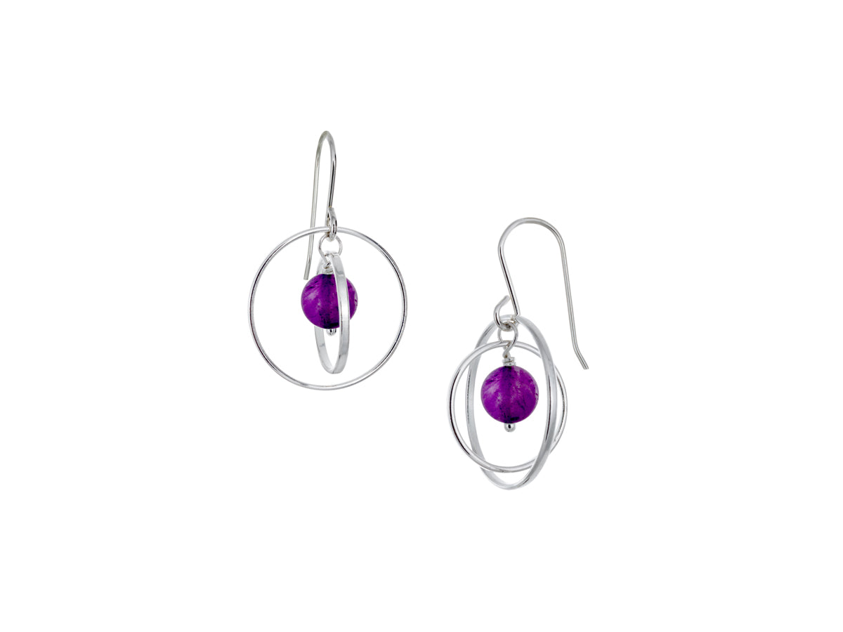 Pamela Lauz - Orbit Purple Amethyst Small Loop Silver Earrings