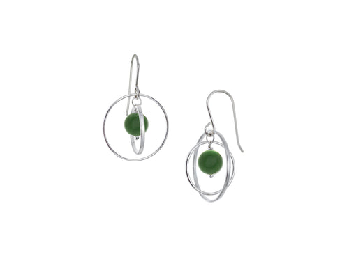 Pamela Lauz - Orbit Green BC Jade Small Loop Earrings