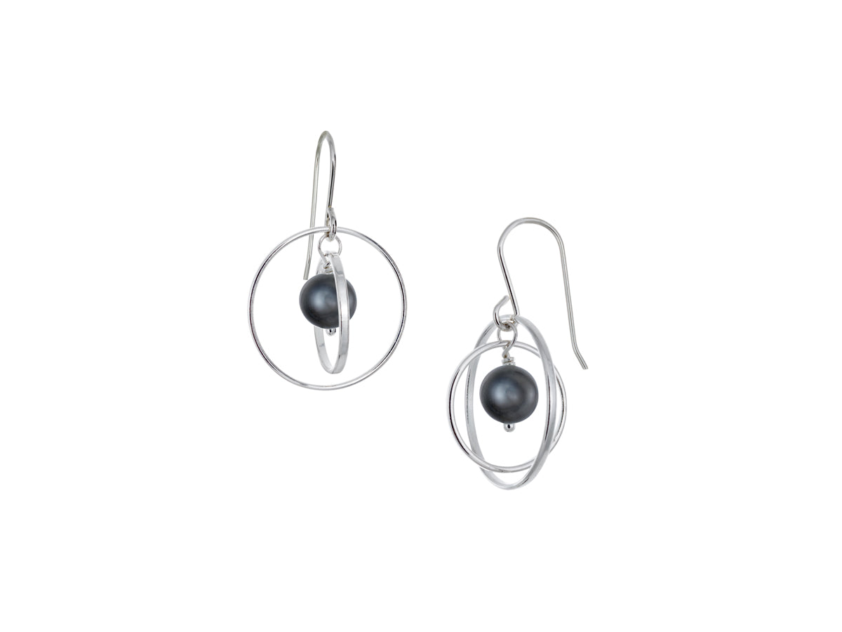 Pamela Lauz - Orbit Black Pearl Small Loop Earrings