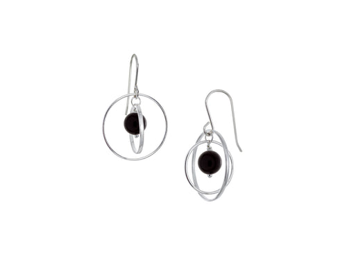 Pamela Lauz - Orbit Black Onyx Small Loop Earrings