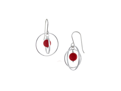 Pamela Lauz - Orbit Red Sea Bamboo Small Loop Earrings