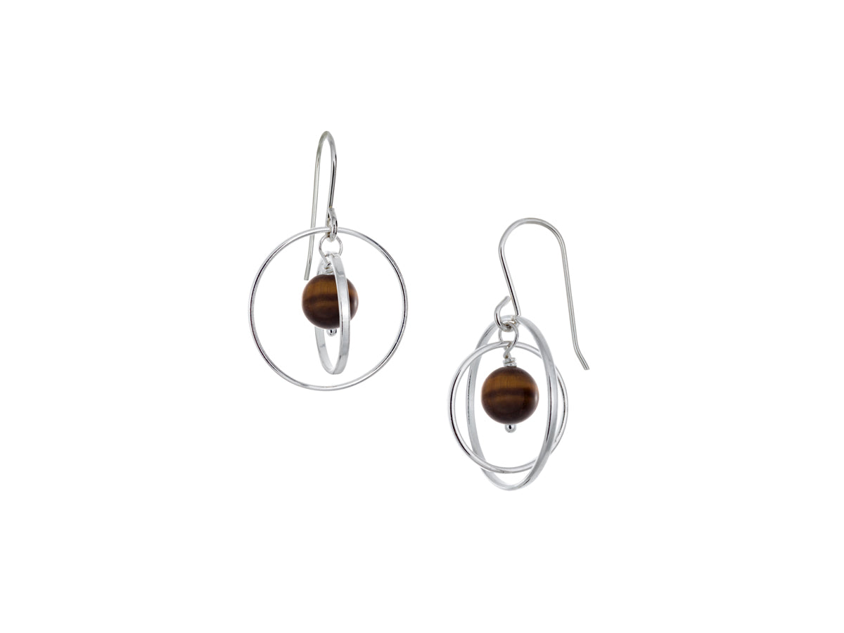 Pamela Lauz - Orbit Golden Tiger's Eye Small Loop Earrings