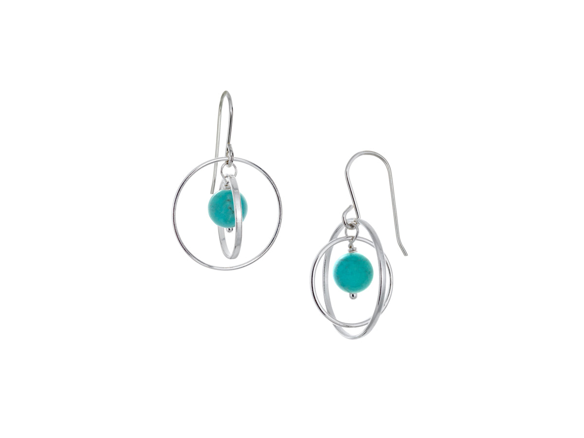 Pamela Lauz - Orbit Turquoise Small Loop Earrings