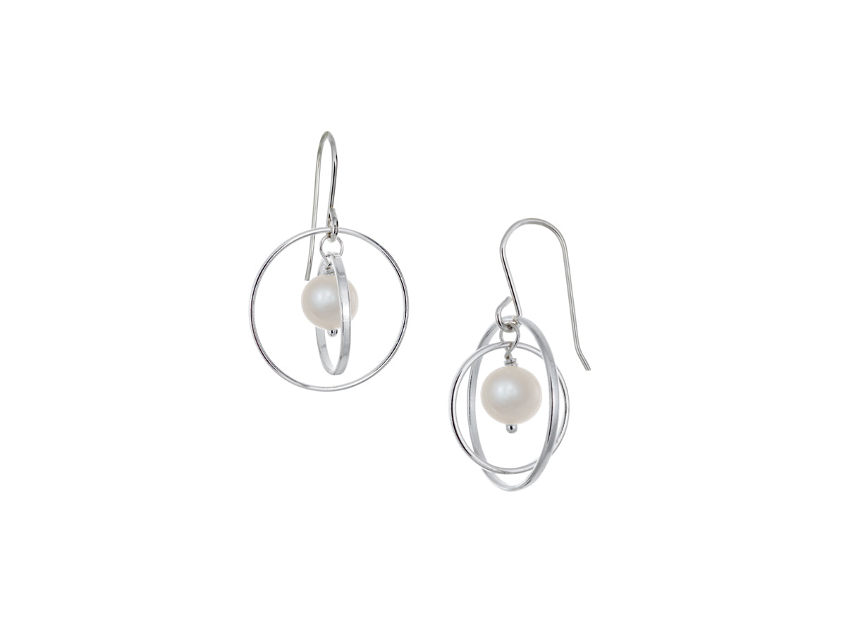 Pamela Lauz - Orbit White Pearl Small Loop Earrings