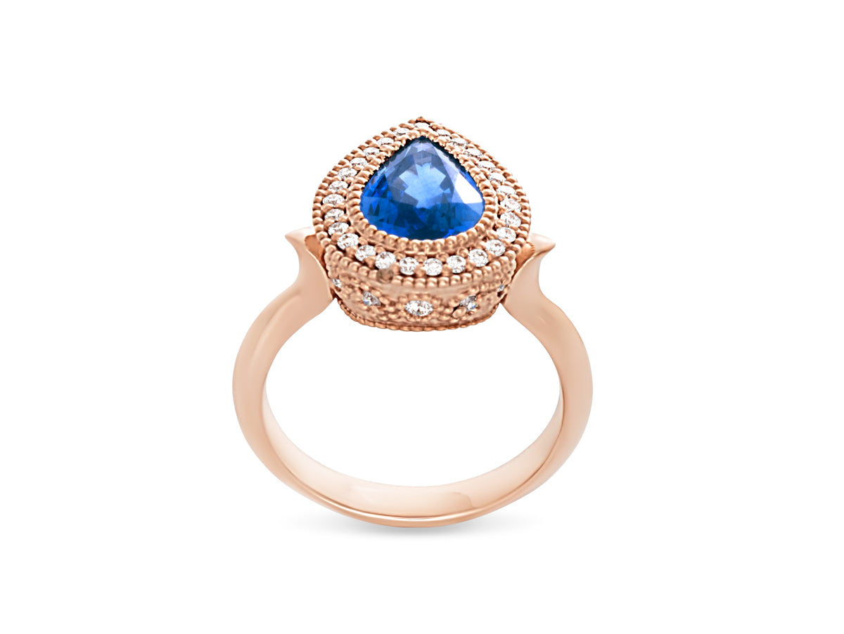 Vintage Sapphire Rose Gold Diamond Engagement Ring