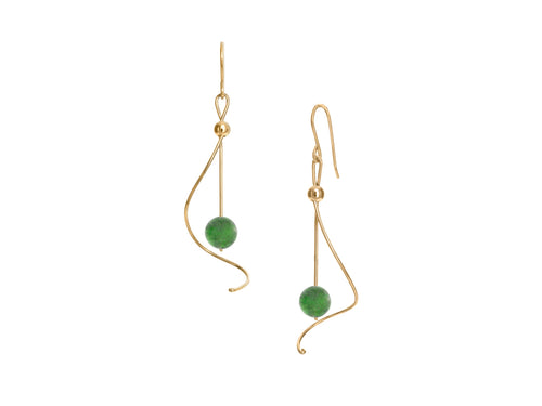 Pirouette BC Jade Nephrite Gold Silver Drop Earrings