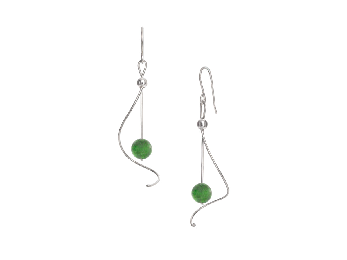 Pamela Lauz - Pirouette BC Jade Nephrite Twist Drop Earrings - Silver