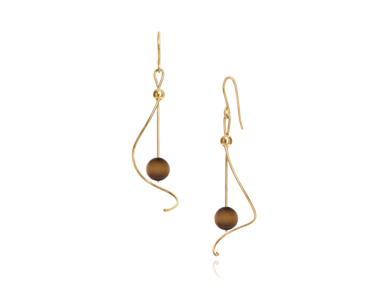 Pamela Lauz - Pirouette Tiger's Eye Twist Drop Earrings - Gold