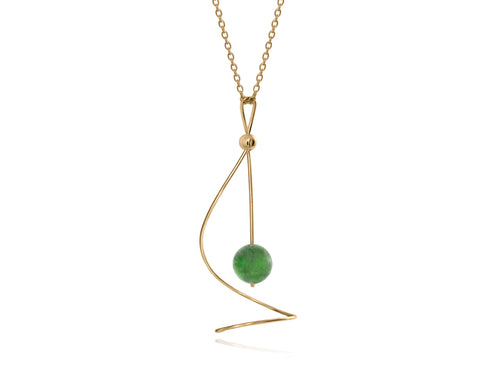 Pamela Lauz - Pirouette BC Jade Twist Necklace - Gold