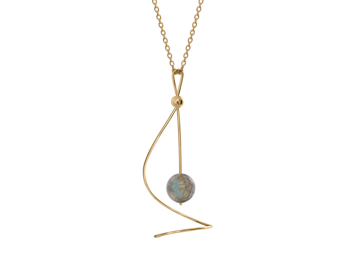 Pamela Lauz - Pirouette Labradorite Twist Necklace - Gold