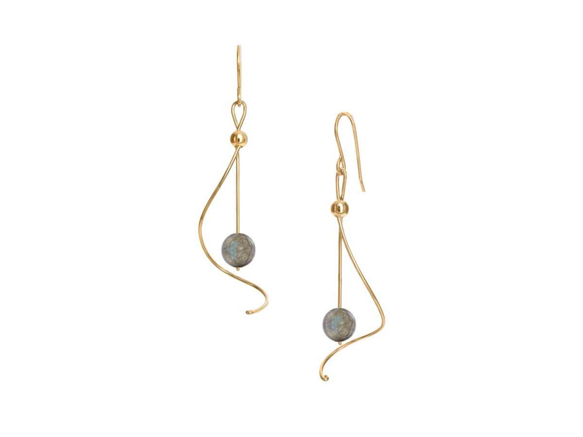 Pirouette Labradorite Silver Gold Earrings