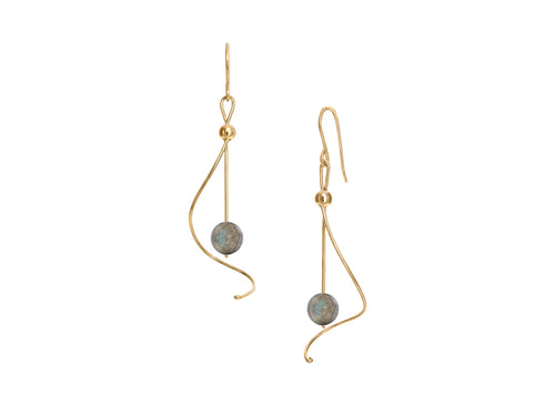 Pamela Lauz - Pirouette Labradorite Twist Drop Earrings - Gold