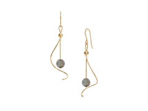 Pirouette White Pearl Twist Drop Earrings