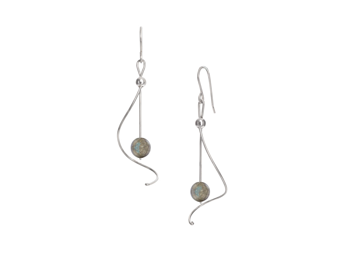 Pamela Lauz - Pirouette Labradorite Twist Drop Earrings - Silver