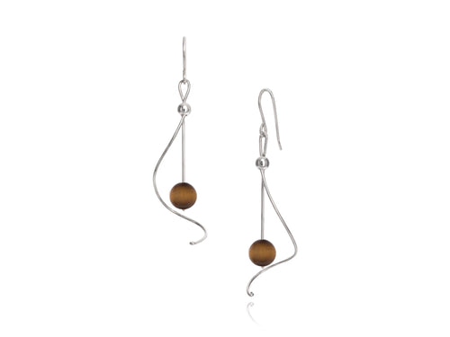 Pamela Lauz - Pirouette Tiger's Eye Twist Drop Earrings - Silver