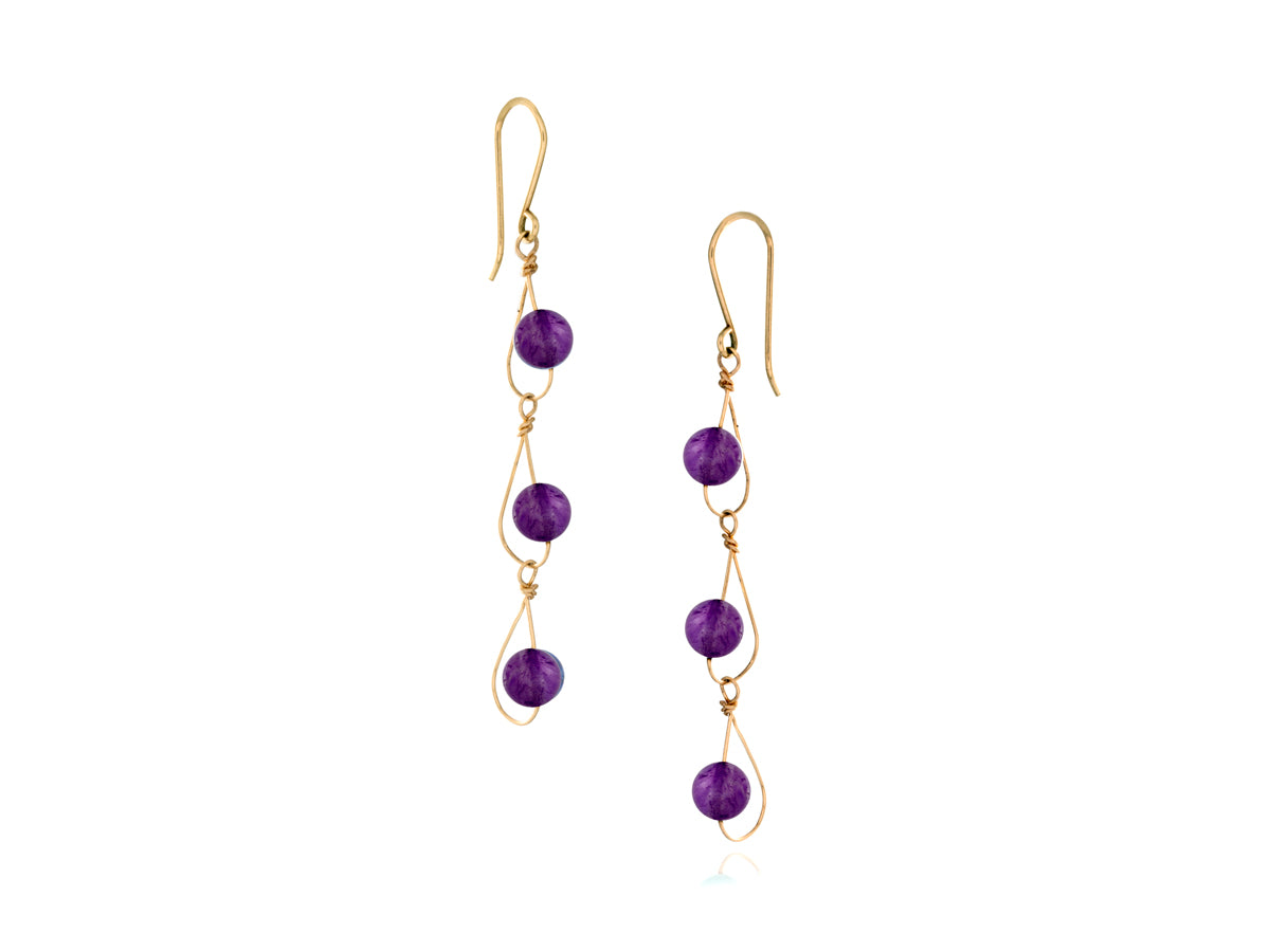 Pamela Lauz - Rain Purple Amethyst Dainty Trio Earrings - Gold