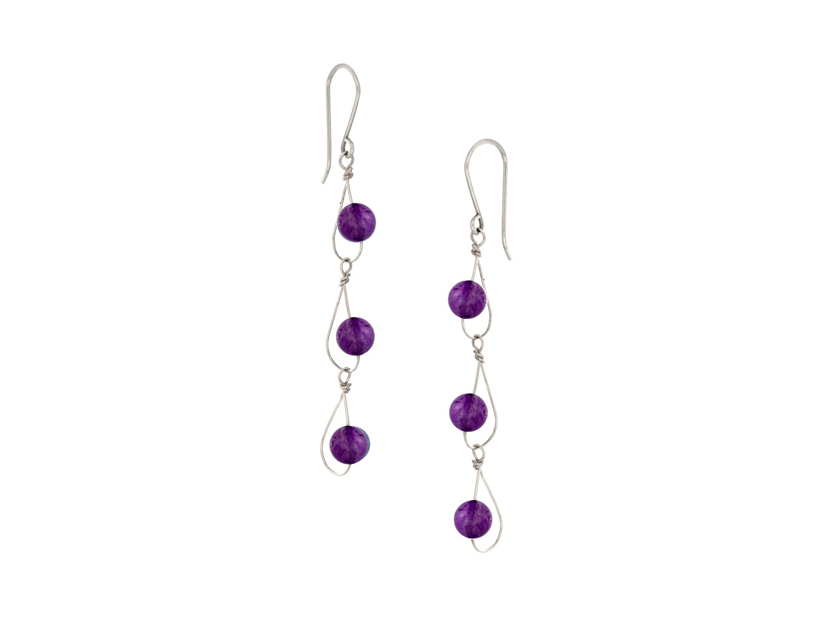 Pamela Lauz - Rain Purple Amethyst Dainty Trio Earrings - Silver