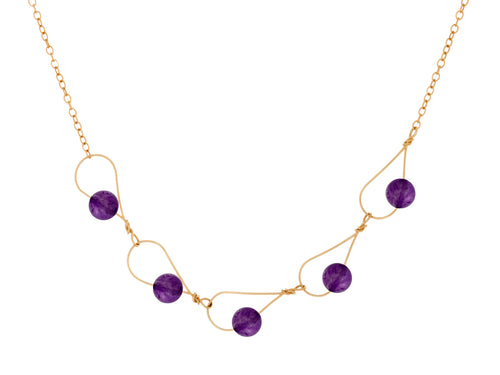 Pamela Lauz - Rain Purple Amethyst Dainty Segment Necklace - Gold