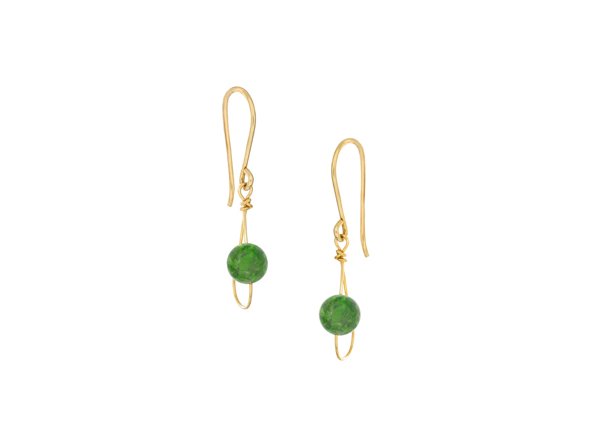Pamela Lauz - Rain Green BC Jade Nephrite Dainty Single Earrings Gold