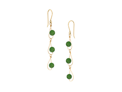 Pamela Lauz - Rain Green BC Jade Nephrite Dainty Trio Earrings Gold