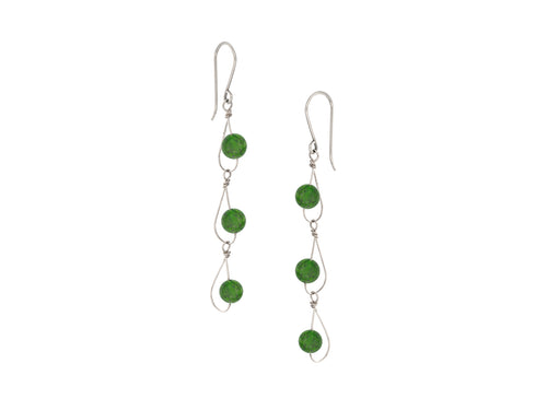 Pamela Lauz - Rain Green BC Jade Nephrite Dainty Trio Earrings Silver