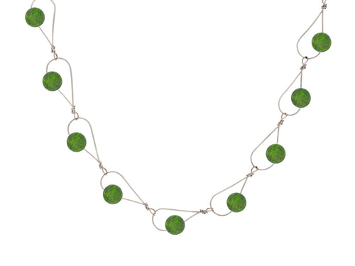 Rain BC Jade Nephrite Silver Gold Necklace