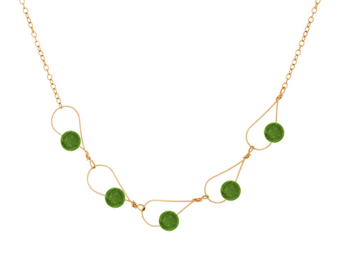 Aqua Peridot Pear Shaped Necklace