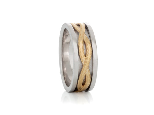 White and Yellow Gold Braided Engraved Wedding Band