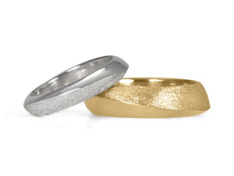 White Gold Band with Yellow Gold Groove