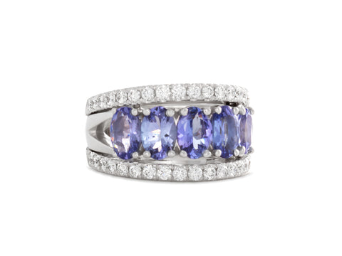 Interlocking Sapphire and Diamond Wedding Rings
