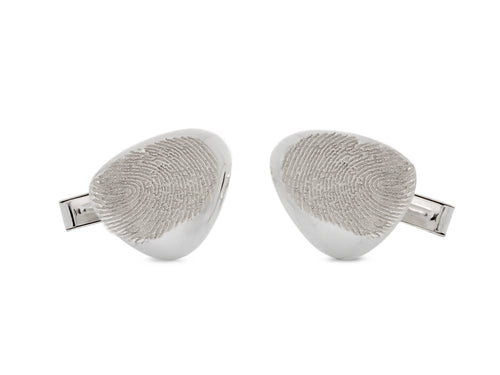 Pamela Lauz - Terra Pebble Fingerprint Sterling Silver Cufflinks