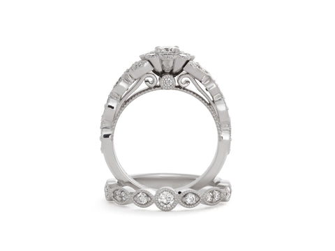 Classic Tulip Diamond Solitaire Engagement Ring