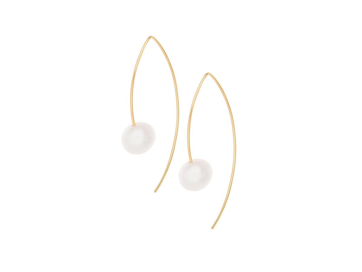 Element Simple White Freshwater Pearl Drop Earrings Gold Filled