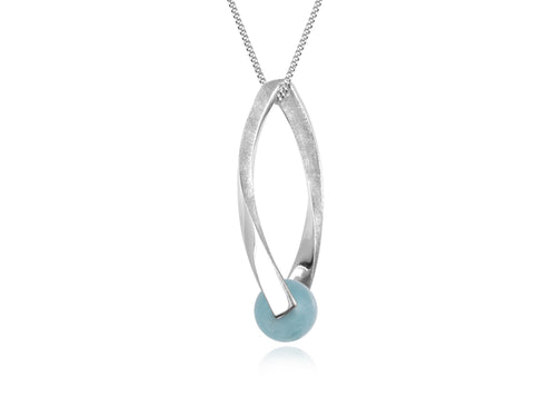 Pamela Lauz - Candela Unique Aquamarine Silver Necklace