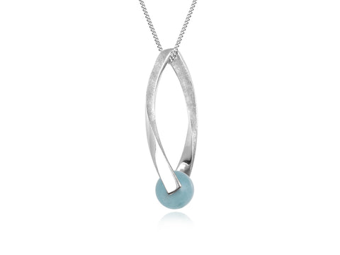 Lantern Blue Topaz Dainty Lariat Necklace
