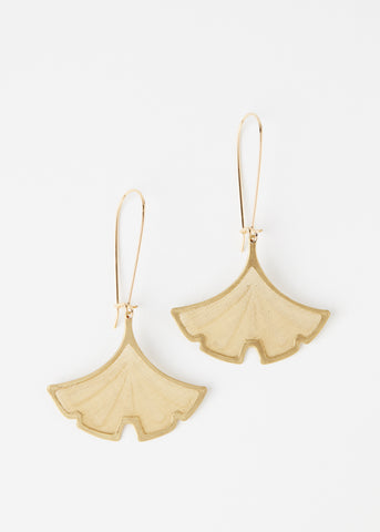 Gingko Leaf Earrings: Brass