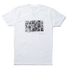 "A ladies cut white T-shirt with 18 black and white images from Stanley Kubrick's ""Dentist Office"" series in a grid."