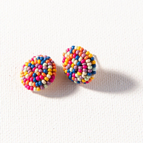Confetti Button Post Beaded Earring
