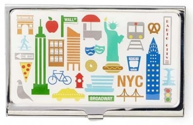 A solid card holder with NYC clip art including a taxi, Statue of Liberty, Empire State Building, etc.